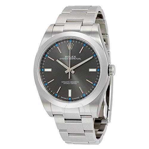 (ロレックス) Rolex メンズ 時計 オイスターパーペチュアル 腕時計 Oyster Perpetual 39 Dark Rhodium Dial Stainless Steel Oyster Automatic Watch for Men (並行輸入品) buyjiku