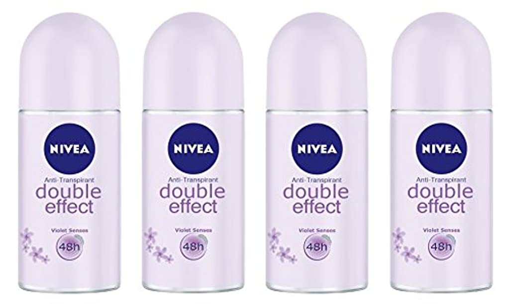 ピアースどっちきちんとした(Pack of 4) Nivea Double Effect (Violet Senses) Anti-perspirant Deodorant Roll On for Women 4x50ml - (4パック) ニベアダブル...