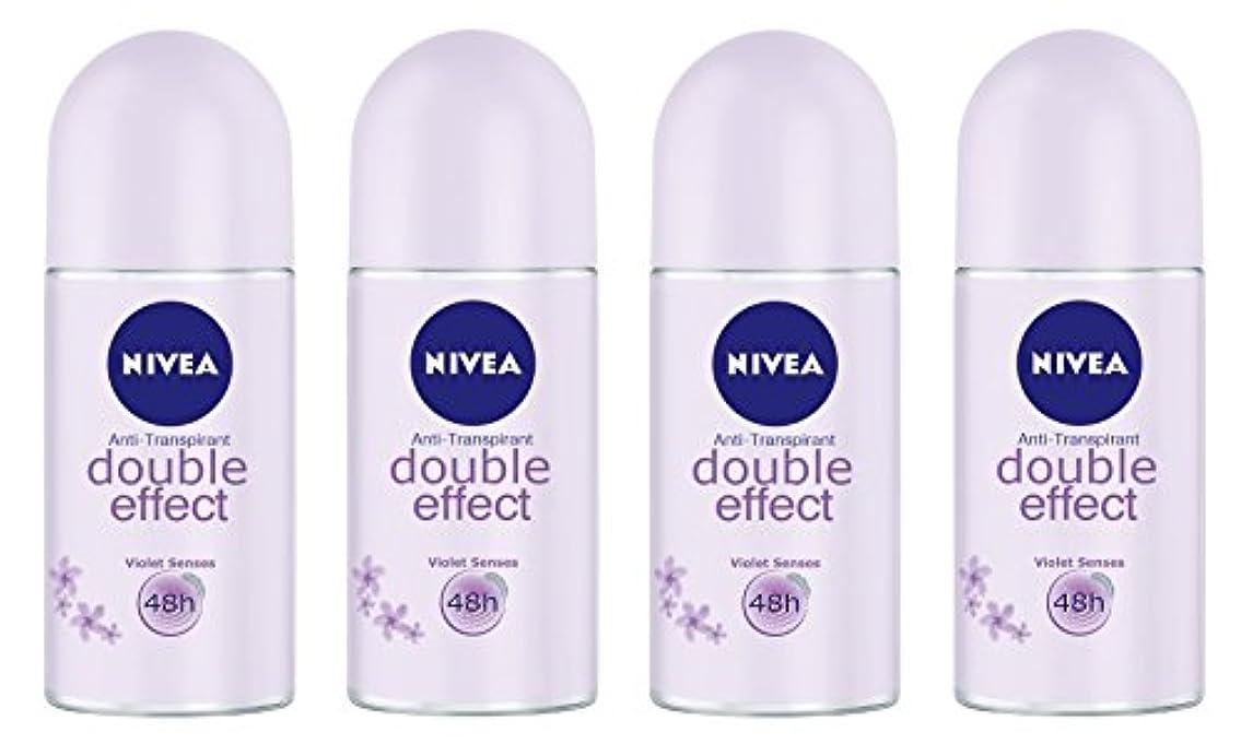 マトン神秘バスタブ(Pack of 4) Nivea Double Effect (Violet Senses) Anti-perspirant Deodorant Roll On for Women 4x50ml - (4パック) ニベアダブル効果(バイオレット感覚) 制汗剤デオドラントロールオン女性のための4x50ml