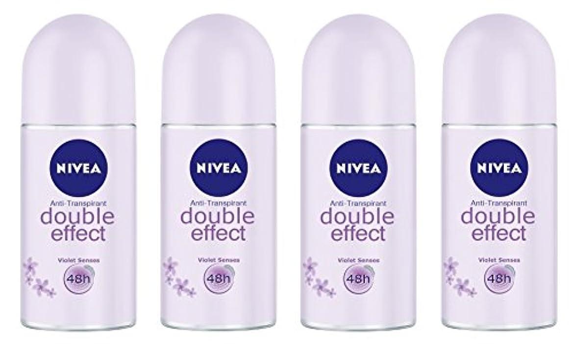 ラッドヤードキップリングストレージコンテンツ(Pack of 4) Nivea Double Effect (Violet Senses) Anti-perspirant Deodorant Roll On for Women 4x50ml - (4パック) ニベアダブル...