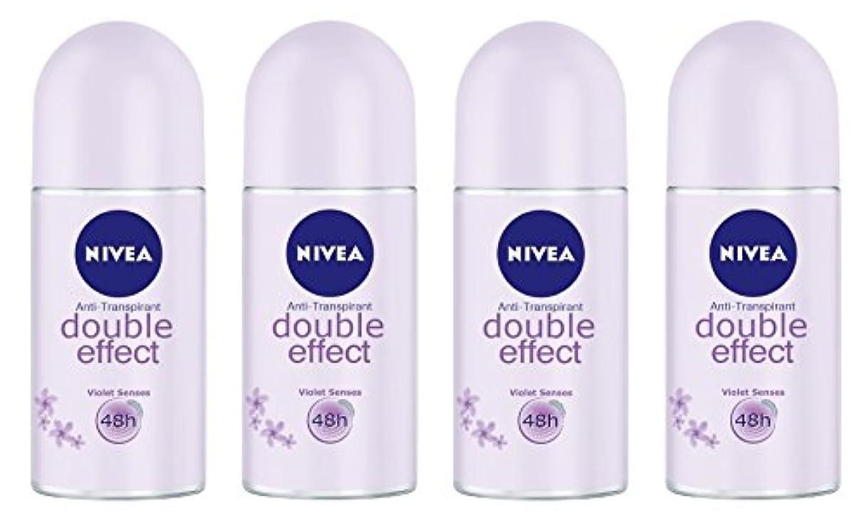 鎮静剤決定的ベルベット(Pack of 4) Nivea Double Effect (Violet Senses) Anti-perspirant Deodorant Roll On for Women 4x50ml - (4パック) ニベアダブル効果(バイオレット感覚) 制汗剤デオドラントロールオン女性のための4x50ml