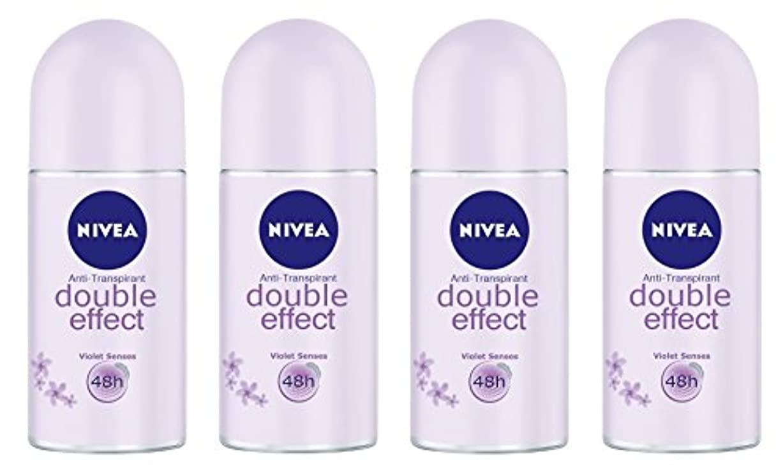 賞賛する矛盾する有効な(Pack of 4) Nivea Double Effect (Violet Senses) Anti-perspirant Deodorant Roll On for Women 4x50ml - (4パック) ニベアダブル...