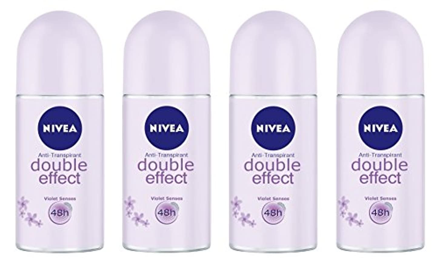 部門反逆者ネックレス(Pack of 4) Nivea Double Effect (Violet Senses) Anti-perspirant Deodorant Roll On for Women 4x50ml - (4パック) ニベアダブル...