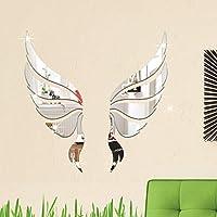 ミラーウォールステッカー 3dアクリル現代ミラーウォールステッカークリスタル天使の羽DIY壁画の装飾家の装飾 ホームリビングルームの寝室の装飾 (Color : Silver)