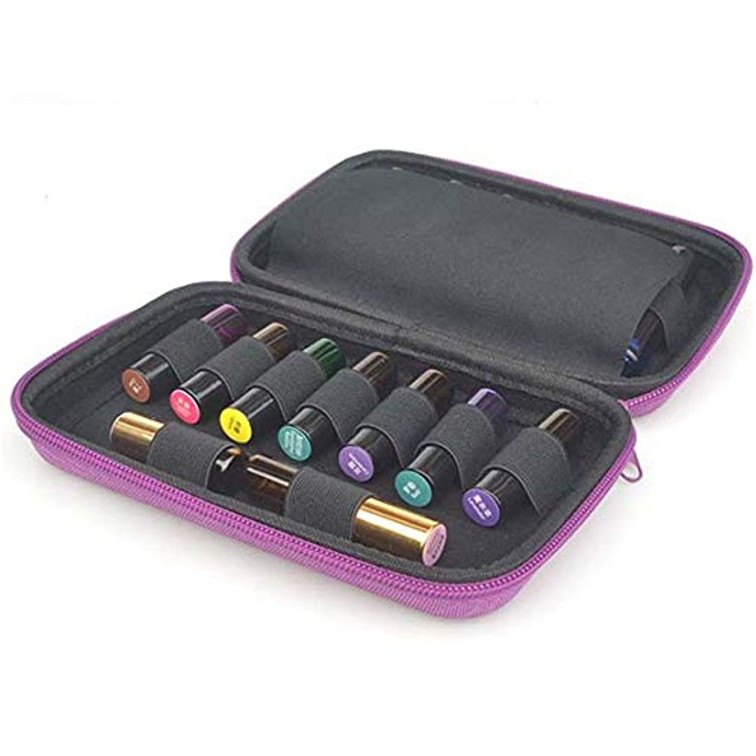 掃除初期リビングルームエッセンシャルオイル収納ボックス エッセンシャルオイル5?10ミリリットルローラーと標準ボトルの場合は最大15本のボトルパーフェクトのためのケースプレミアムハードシェル保護キャリング アロマオイル収納ボックス (色 : 紫の, サイズ : 20X13X4.5CM)
