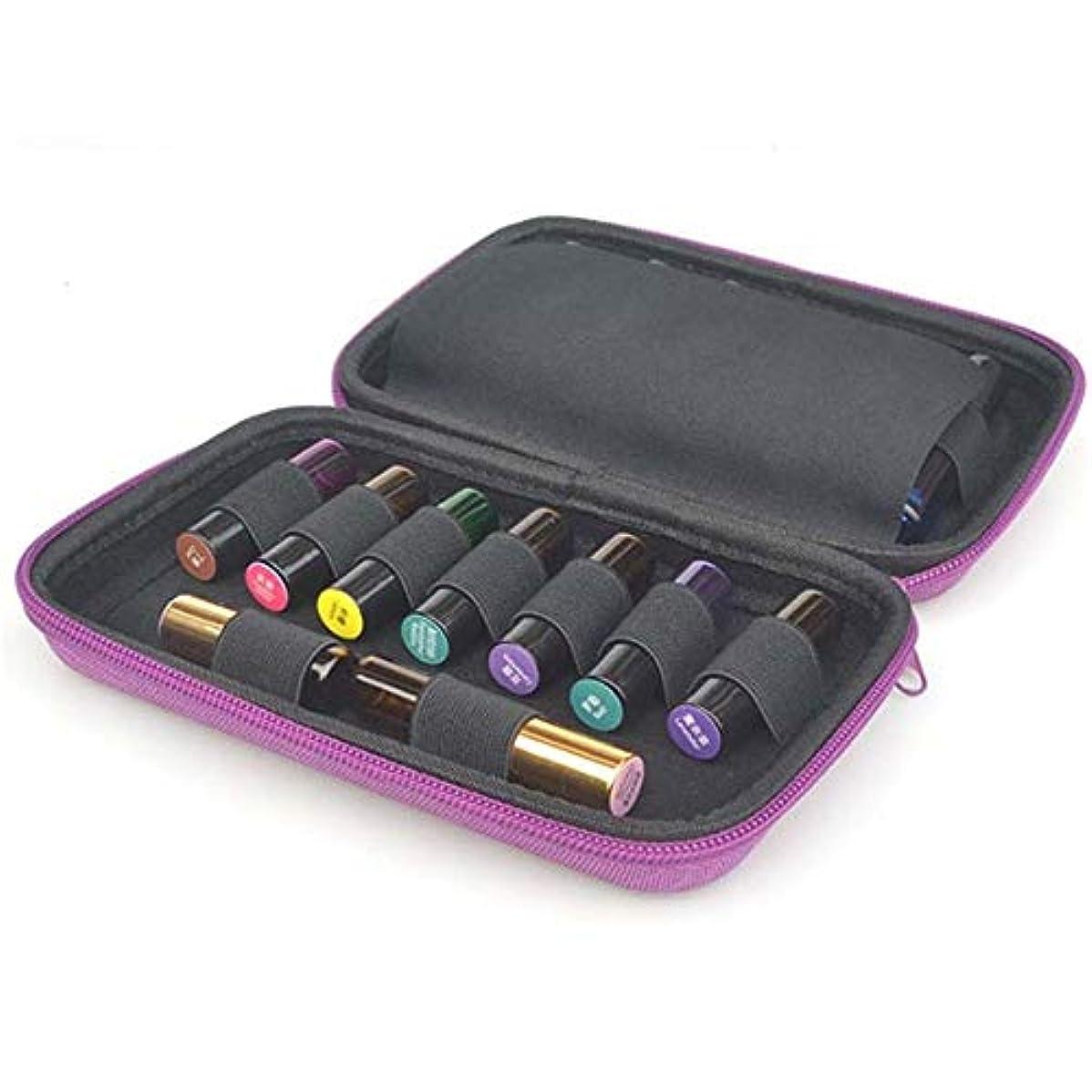 関税不倫の間にエッセンシャルオイル収納ボックス エッセンシャルオイルレザーハードシェル保護規格ボトルロールと完璧な5?10ミリリットルの15本のボトル 丈夫で持ち運びが簡単 (色 : 紫の, サイズ : 20X13X4.5CM)