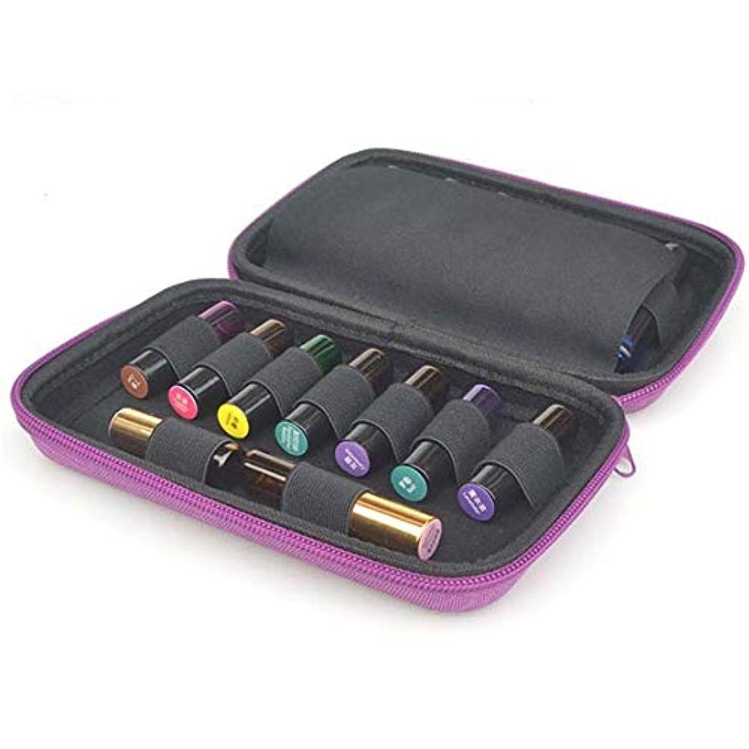 論争的カジュアルおそらくエッセンシャルオイルの保管 エッセンシャルオイル5〜10ミリリットルローラーと標準ボトルの場合は最大15本のボトルパーフェクトのためのケースプレミアムハードシェル保護キャリング (色 : 紫の, サイズ : 20X13X4.5CM)