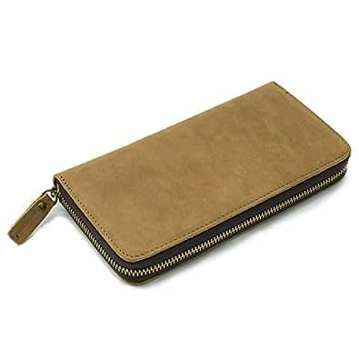 [エスコー] escow 長財布 メンズ ファスナー レザー 財布 本革 ウォレット 革財布 ロングウィレット プレゼントに最適 イタリア製高級レザー (カーキ)