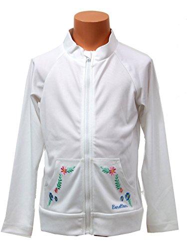Benetton(ベネトン)キッズラッシュガード長袖花柄刺繍100110120130127-858ホワイト120