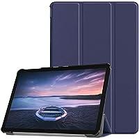 Eustak Samsung Galaxy Tab S4 10.5 SM-T830 (Wi-Fi)/SM-T835 (LTE) タブレットパソコン ケース 新型 カバー NEWモデル スタンド機能付き 保護ケース 三つ折 マグレット開閉式 薄型 超軽量 全面保護型 サムスン Galaxy Tab S4 10.5 SM-T835 高級PU スマートケース (ダークブルー)