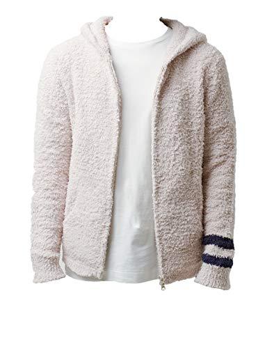 【正規取扱店】ベアフットドリームス Barefoot Dreams メンズパーカー Men's zip hoodie with stripe C594 (IVORY, M)