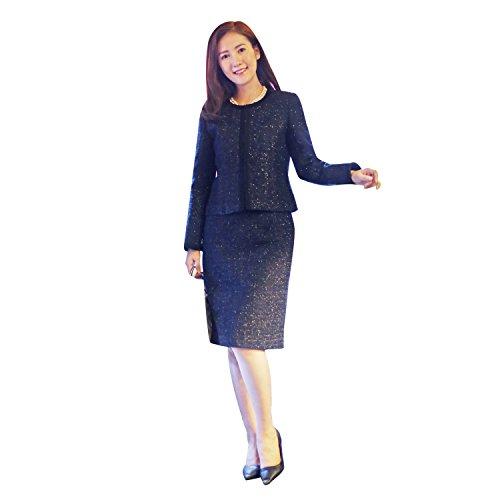 【MG70111】ノーブルでエレガントな3点セットスーツ ワンピース スカートジャケット ツイードフォーマ 入園式 入学式 卒業式 卒園式 セレモニー レディース ママ 結婚式 食事会 (11号, ネイビー)