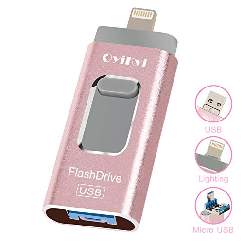 OYIKYI usbメモリ 32gb iPhone フラッシュドライブ 人気 usb メモリ 3-in-1 iOS/Android/コンピュータ対応 スマホ 容量不足解消 パスワード保護 高速転送 日本語取扱説明書付き(32GB ローズゴールド)
