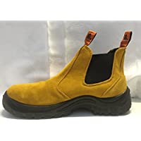 Leather Steel Cap Mens Work Boots - Wheat