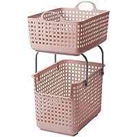 ZZHF xiyilan ランドリーバスケット、可動二重層分類衣類収納バスケットバスルーム防水プラスチックランドリーバスケット バスケット (色 : Pink)