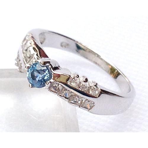【海外製】 ASREY 大粒 0.5ct. アクアマリン 指輪リング 誕生石 3月 シンセティック シルバー