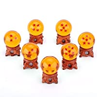 (1.7inch ball with wooden holders) - 7 pcs Pure Hand-made Wood Ball Holders + 7 pcs Star Ball Crystal Ball (4.3cm Diameter), 3D Stars, Clear and Transparent, Flashing Mysterious Aura of Jesus, Charming Amber Colour