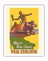 ニュージーランド - マオリ戦争カヌー - ビンテージな世界旅行のポスター によって作成された マーカス・キング c.1950s - アートポスター - 28cm x 36cm