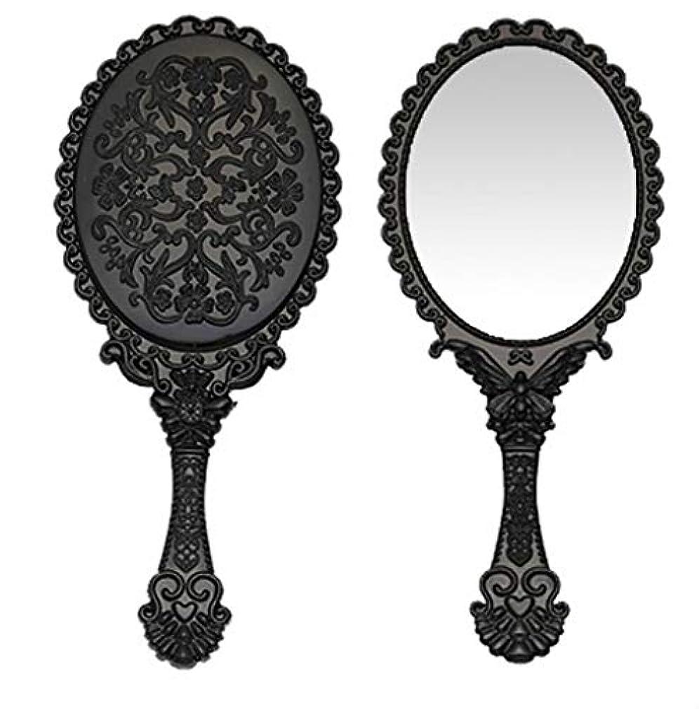 手荷物はさみ世界記録のギネスブック送料無料 トゥインクル 楕円の鏡 メイク ポーチ 化粧 ミラー 手鏡 姫系ハンドミラー ブラック