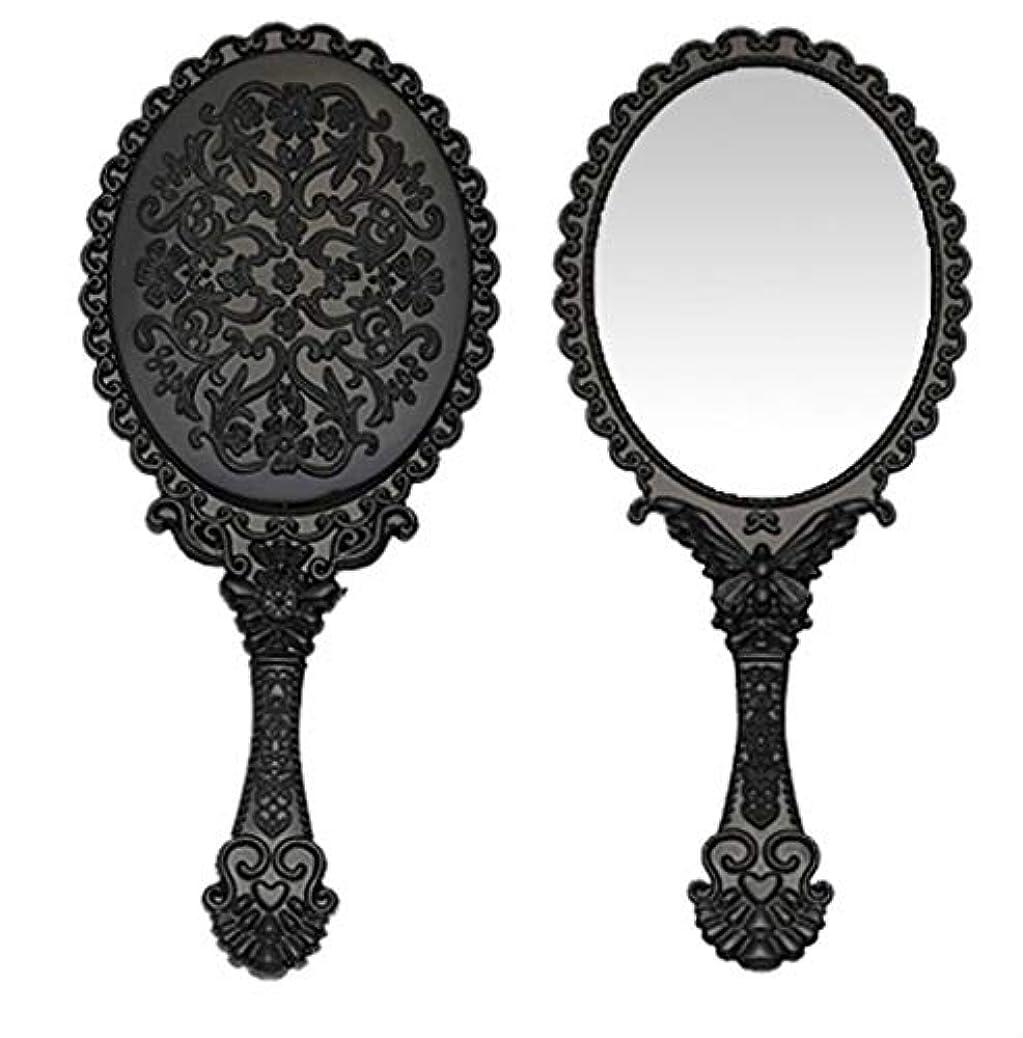 銀河人気雄弁家送料無料 トゥインクル 楕円の鏡 メイク ポーチ 化粧 ミラー 手鏡 姫系ハンドミラー ブラック