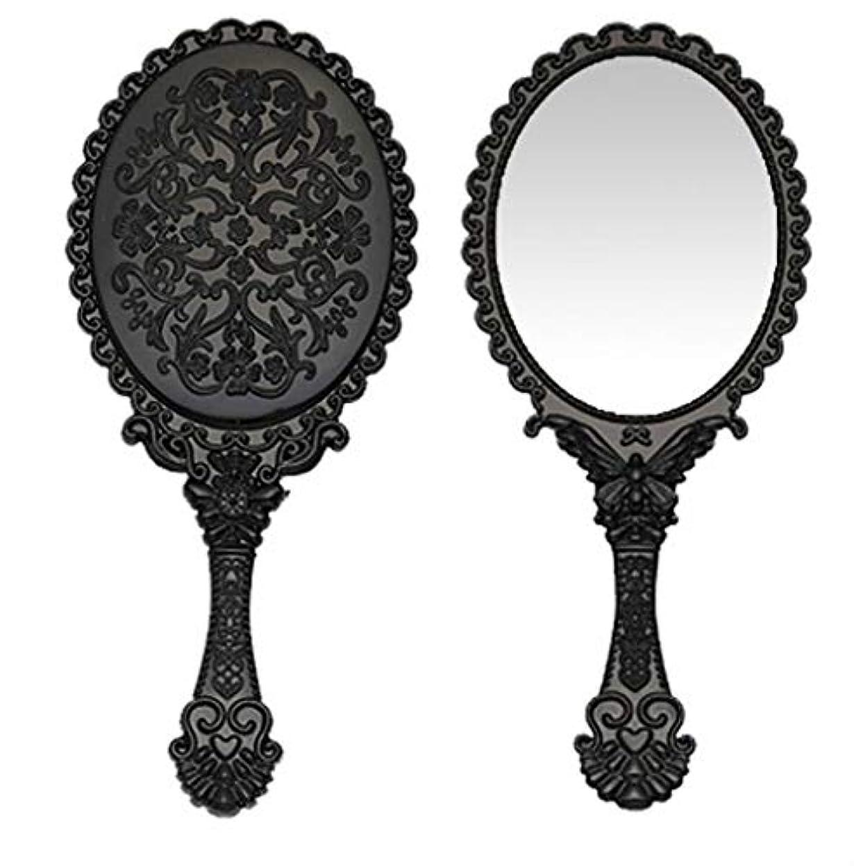リスト抹消退化する送料無料 トゥインクル 楕円の鏡 メイク ポーチ 化粧 ミラー 手鏡 姫系ハンドミラー ブラック