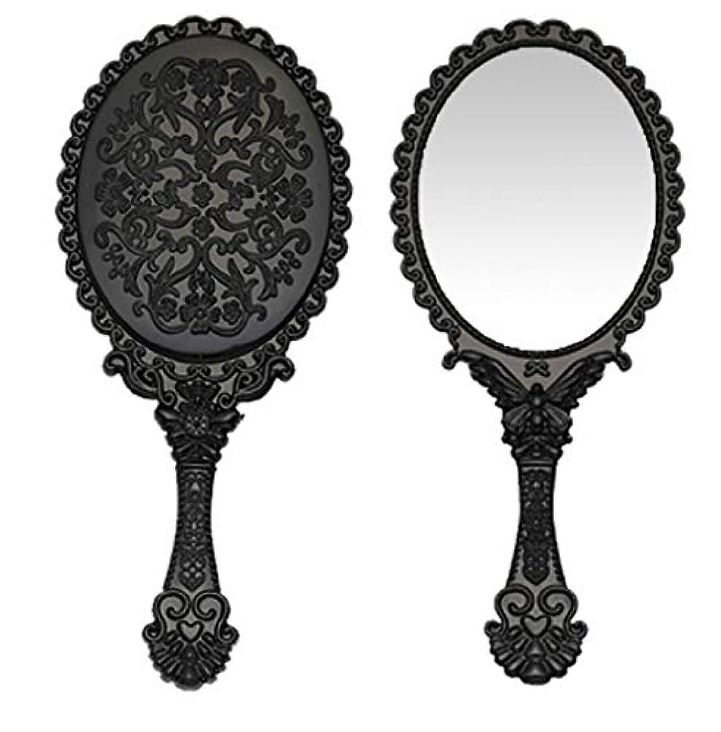 ボトルご覧ください覚醒送料無料 トゥインクル 楕円の鏡 メイク ポーチ 化粧 ミラー 手鏡 姫系ハンドミラー ブラック