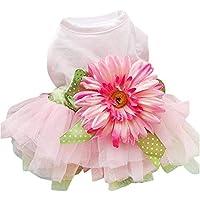 デイジーフラワーガーゼチュチュドレススカート子犬猫ちょう結び王女の服小さなペット犬 YANW (色 : Flower skirt, サイズ さいず : S s)
