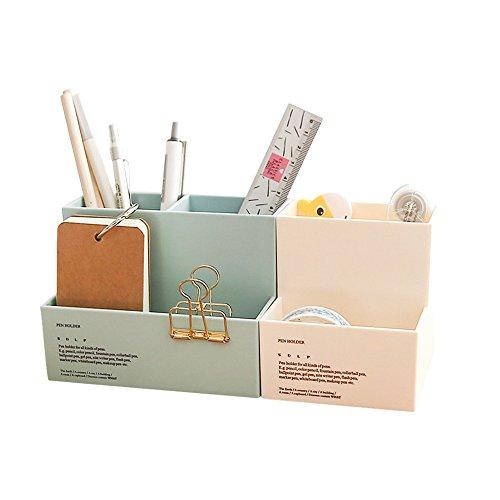 Zhi Jin 1個 プラスチック製 ペン立て 収納ボックス ビジネスオフィス用品 文具ケース 収納ケース 青