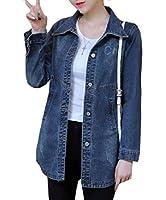 Tootess 女性バギースタイル花プリントバックルトレンチは、レザージャケットコート Blue S