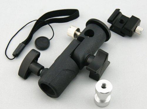 クリップオンストロボ 用 アンブレラホルダー (アルミ製) に レンズキャップホルダー付き