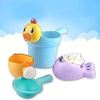 Fashionwu お風呂用おもちゃ 水遊び 子供 じょうろ アヒル 湯おけ 子供 ギフト 4個セット 色ランダム