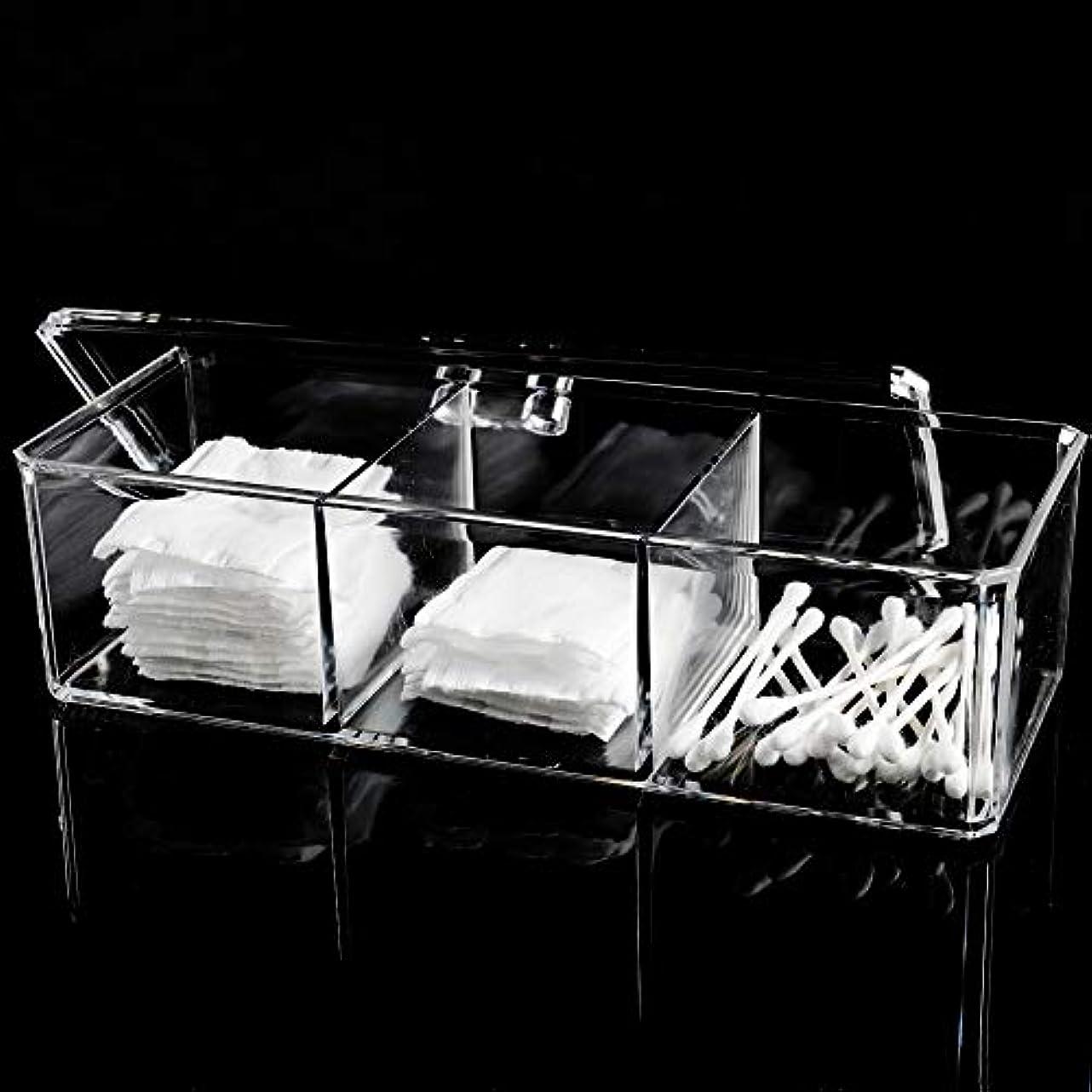 従う強大な実現可能メイクボックス 綿棒ボックス アクリルケース 3コンパートメント 多機能 化粧品 ジュエリー収納 楊枝入れ 蓋付きコスメ小物 収納