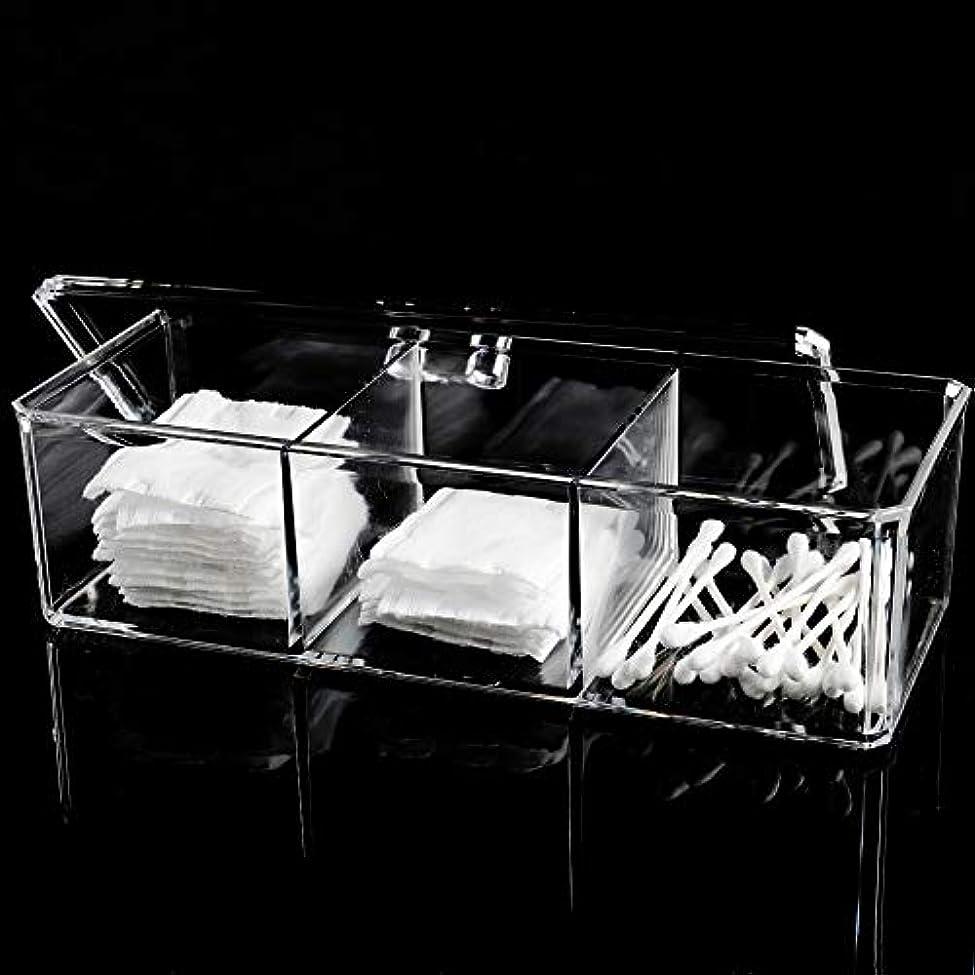 条約概して多様体メイクボックス 綿棒ボックス アクリルケース 3コンパートメント 多機能 化粧品 ジュエリー収納 楊枝入れ 蓋付きコスメ小物 収納