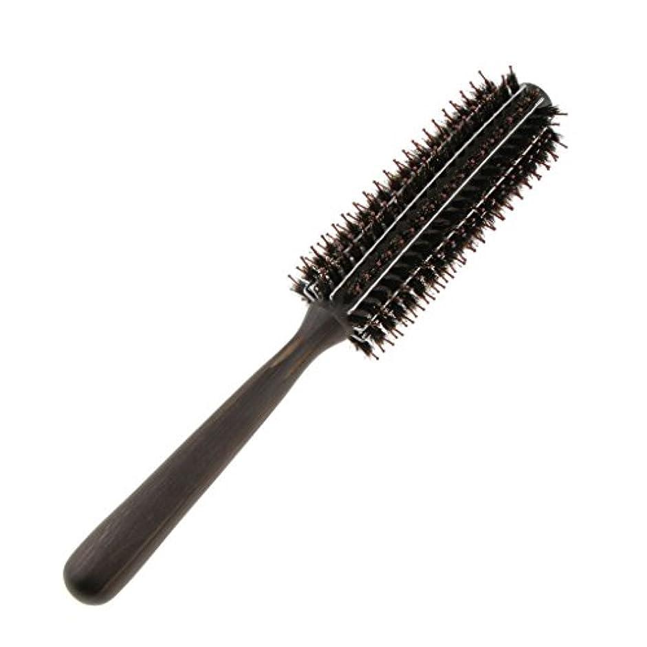 アドバイスでるそばにロールブラシ カール 巻き髪 ヘア ブラシ ロール ヘアコーム 木製ハンドル 3サイズ選べる - M