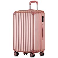 """XLHJFDI Ultralight Business Suitcase,PC+ABS Convenient Trolley Case,Silent Universal Wheel Suitcase,20"""" 24"""" Inch (Color : Rose Gold, Size : 20 inches)"""