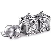 Feyarl®象と馬車 乳歯保存ケース かわいい 乳歯保存ケース お子様の成長記念品 合金製 シルバー