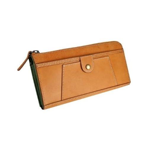 本水牛革 使用 クラシカル 長財布 キャメル×カーキ 大容量 アコーディオン タイプ 茶