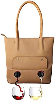 "PortoVino""Double Pour"" Tuscany Vegan Leather Tote (Chardonnay) - Fashionable Purse With Hidden, Insu"