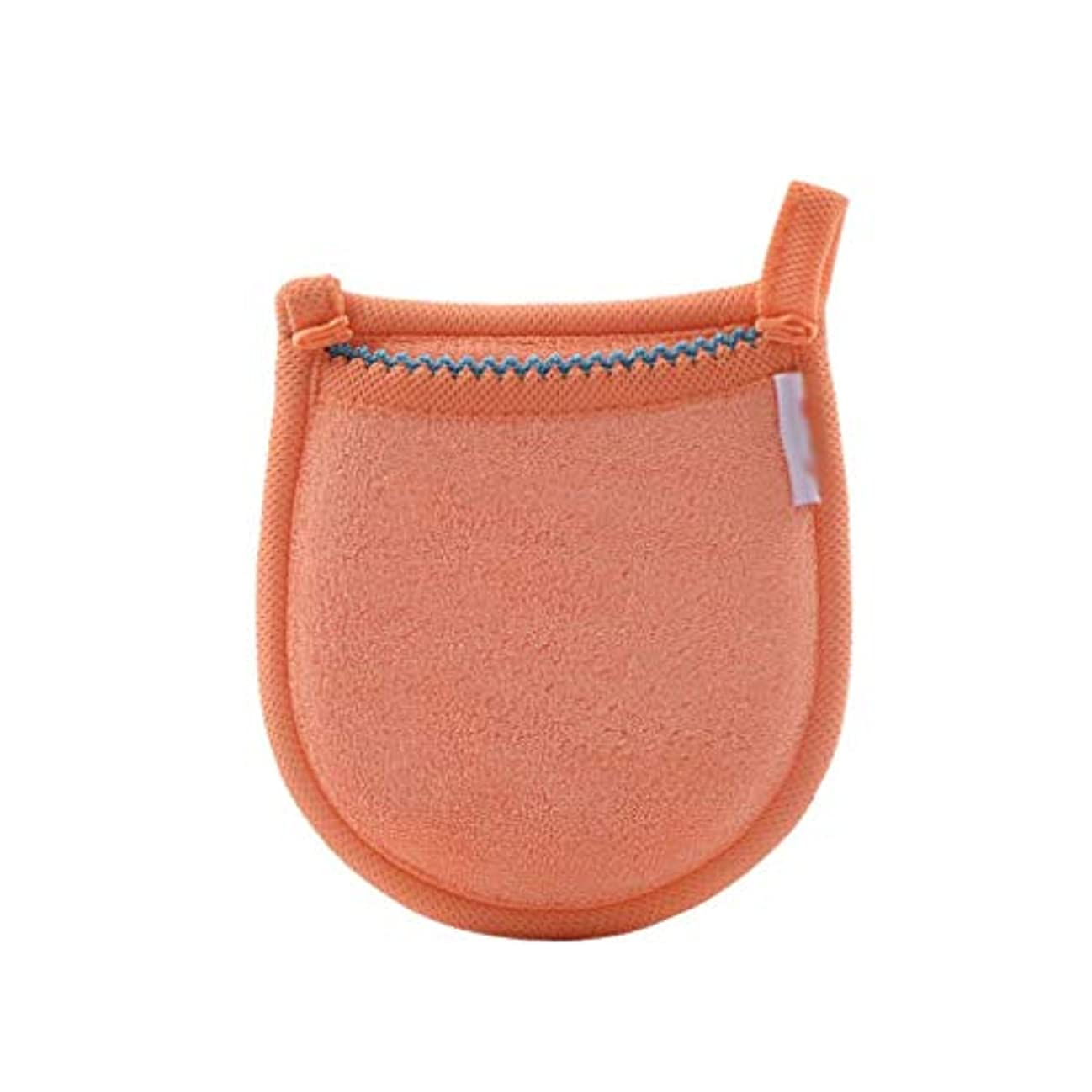 1ピースフェイシャル竹炭スポンジフェイスメイク落とし美容再利用可能なフェイスタオルクリーニンググローブ洗濯メイクアップツール (Color : Orange)