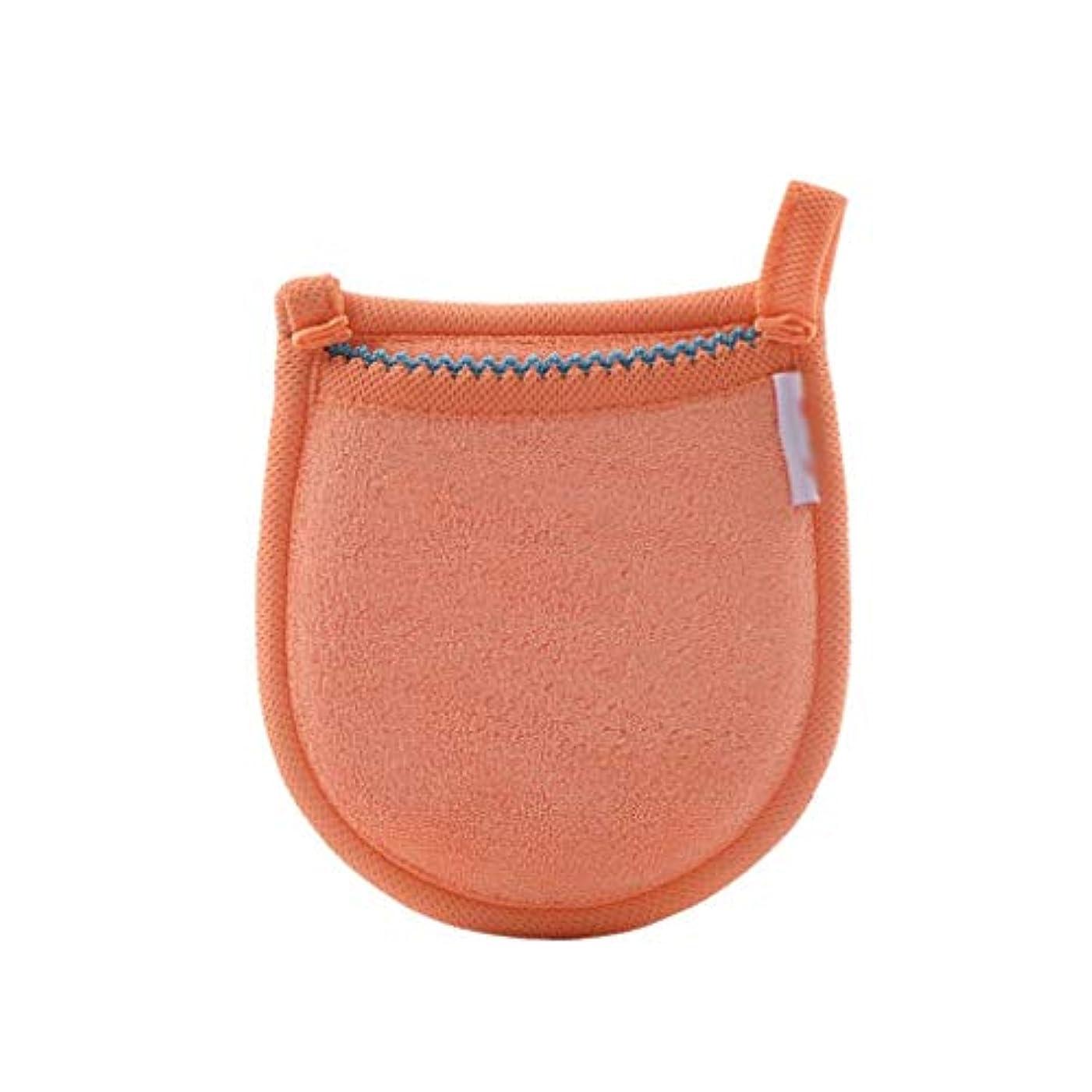洗練沿って研磨剤1ピースフェイシャル竹炭スポンジフェイスメイク落とし美容再利用可能なフェイスタオルクリーニンググローブ洗濯メイクアップツール (Color : Orange)