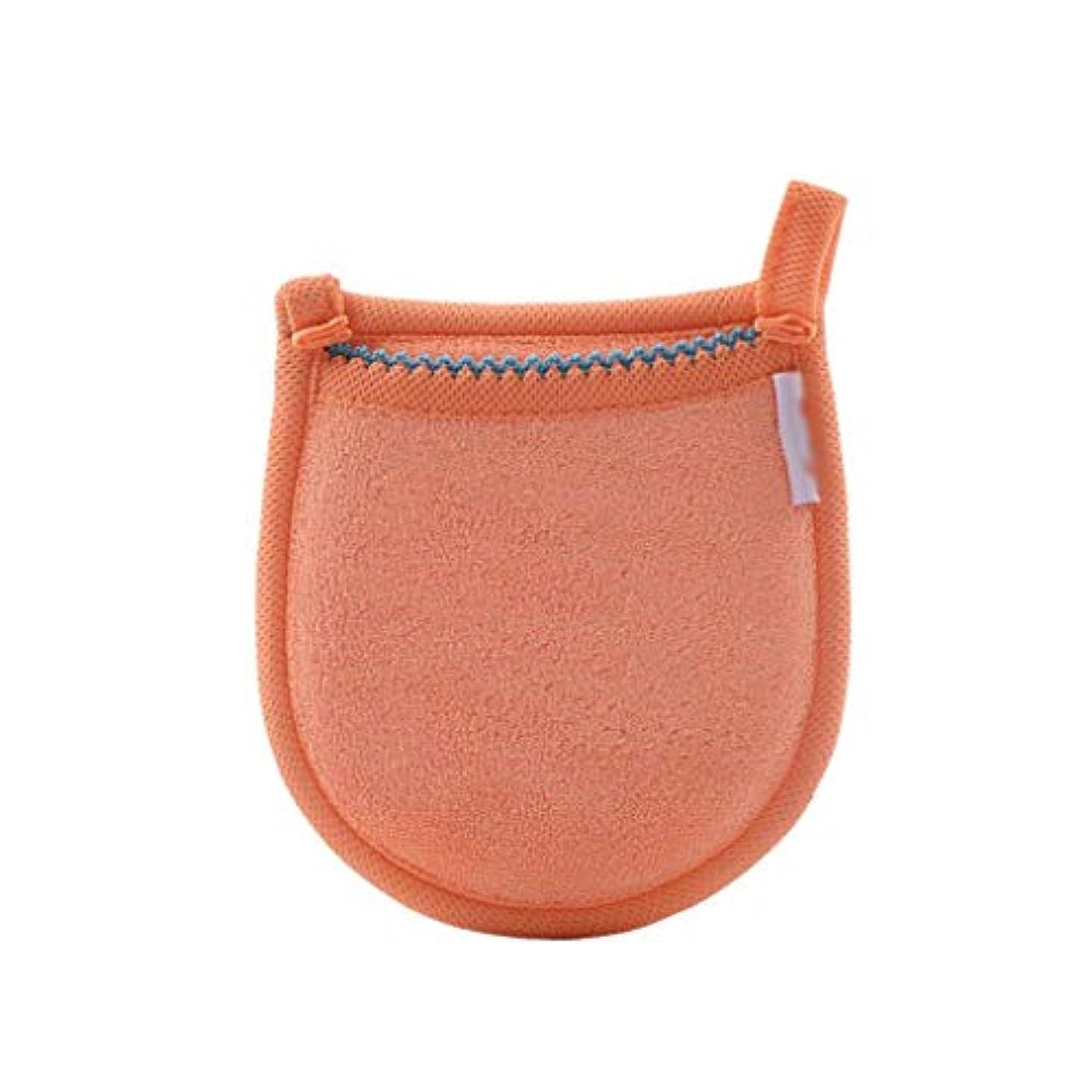 幸福安全な達成する1ピースフェイシャル竹炭スポンジフェイスメイク落とし美容再利用可能なフェイスタオルクリーニンググローブ洗濯メイクアップツール (Color : Orange)