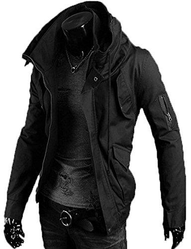 (アルファーフープ) α-HOOP メンズ ファッション カーゴ ミリタリー アウター 長 袖 ジャケット 2 色 M ~ XXL 大きい サイズ も 大人 男 性 用 QR-1 (3.黒(XLサイズ).)…