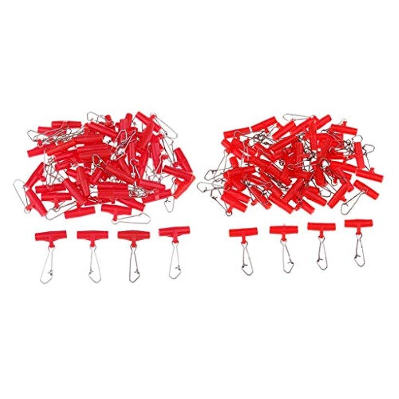 フレット発見奇跡B Blesiya 釣りシンカー スライド スナップ付 T-タイ コネクタ 約100個 M+L 赤色