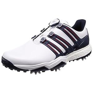[アディダスゴルフ] ゴルフシューズ スパイク Powerband Boa Boost パワーバンド ボア ブースト メンズ ホワイト/ナイトインディゴ/ボールドレッド 26.5 cm