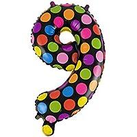 16インチ  カラフルドットプリント箔 数字番号 バルーン 風船  誕生日 9