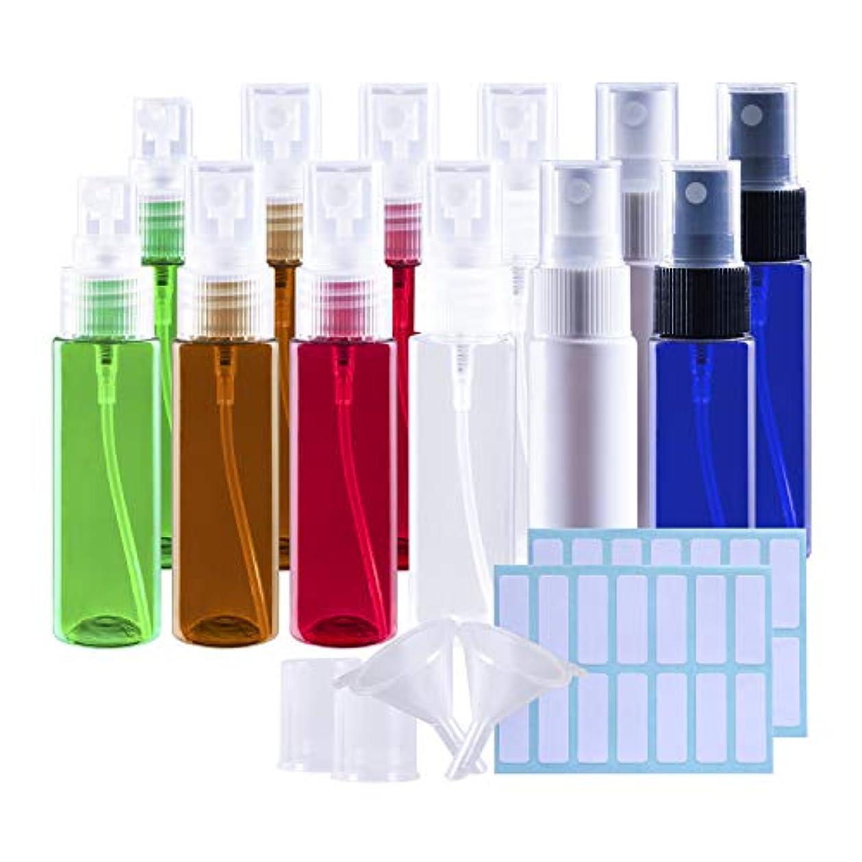 保持する技術的なパニックスプレーボトル 遮光瓶 12本セット 30ML 詰替ボトル 空容器 霧吹き アロマ虫除けスプレー ラベルシール ミニ漏斗付き(6色)