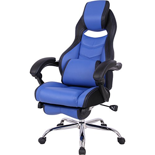 山善(YAMAZEN) オフィスチェア ゲーミングチェア フットレスト 一体型 クッション 付き リクライニング 無段階170度 ブラック/ネイビーブルー MFR-89(NBL)