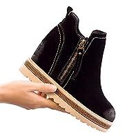 [HAPPYDAY] ショートブーツ ブーティ レディースシューズ 冬用靴 裏起毛 スエード インソール 7cmヒール 黒色 小さいサイズ サイドジッパー 身長アップ 短靴 シャドー 疲れない 合わせやすい カジュアル 緑 グリーン 春秋 ボア