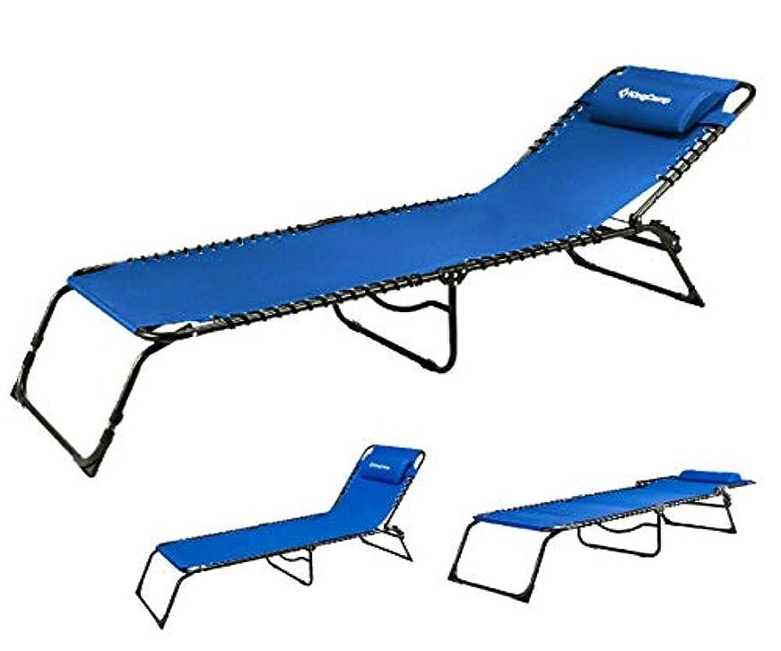 喜劇川外科医KingCamp Chaise Lounge Folding Cot Camping Adjustable Recliner Sunbathing Beach Pool Bed Cot with Pillow (Blue) [並行輸入品]