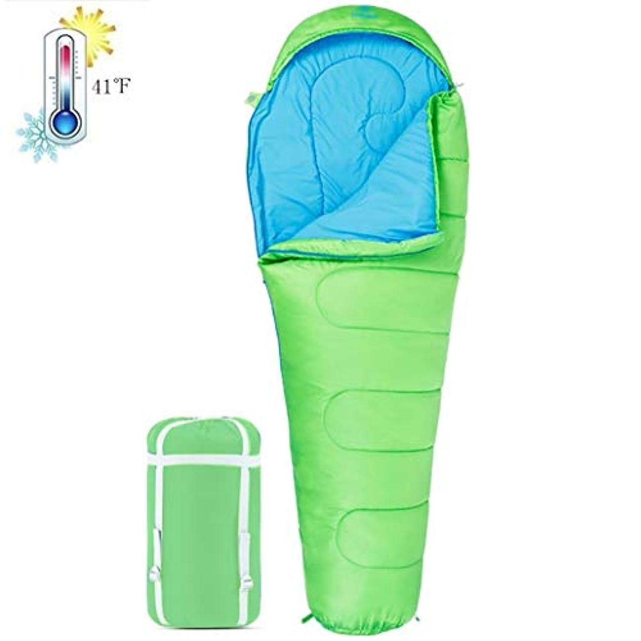 バレルクラフト存在YLIAN 寝袋 防水軽量大人寝袋通気性コットン寝袋アンチキックキルト子供屋外ソフトで快適な暖かいキャンプバッグ (Color : Light green)